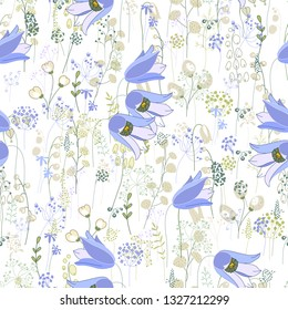 Seamless spring pattern with stylized spring flowers.  Endless texture for your design, greeting cards, announcements, posters.