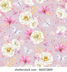 Seamless spring pattern with white Roses, purple Pyrethrum, inflorescence Hydrangea, little pink flowers and flying butterflies. Vector illustration on pink background in watercolor style.