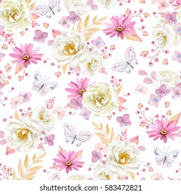 Seamless spring pattern with white Roses, purple Pyrethrum, inflorescence Hydrangea, little pink flowers and flying butterflies. Vector illustration on white background in watercolor style.