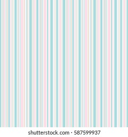 Seamless spring stripes pattern. Pink blue beige and white lines background. Abstract vector illustration