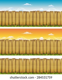 Seamless Spring Or Summer Wood Fence/ Illustration of a cartoon seamless rural wood fence, with grass leaves and spring or summer sky backgrounds, also isolated on white