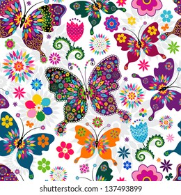 Seamless spring white floral pattern with colorful butterflies and flowers (vector)