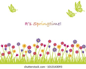 Seamless springtime vector background illustration with flowers, butterflies, and text space.