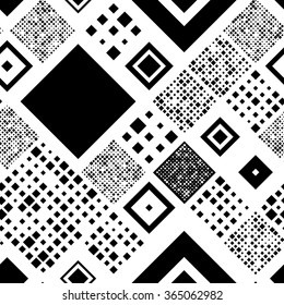 Seamless Square Pattern. Abstract Black and White Background. Vector Regular Brick Texture