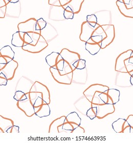 Seamless Squiggle Ring All Over Print Background Texture. Modern Cut Out Collage Hand Drawn Wonky Shapes. Abstract Spotty Pattern Backdrop. Playful Cute Collage for Kids. Vector Wallpaper Tile EPS 10