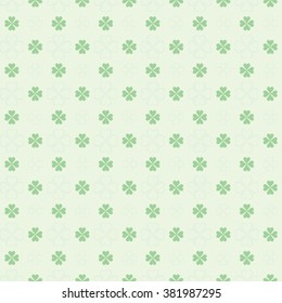 seamless St. Patricks Day pattern: four leaf clover
