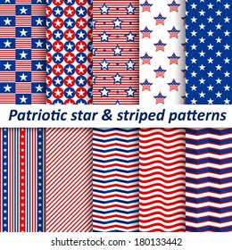 Seamless star & striped patterns