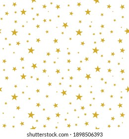 Seamless stars pattern gold yellow color on white background