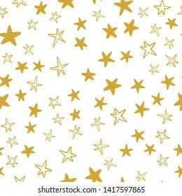 Seamless stars pattern. Hand drawn star doodles texture background.