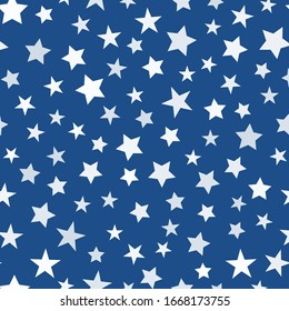 Seamless stars pattern on trendy blue color background