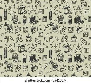 Seamless stationery pattern. Vector illustration.