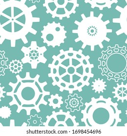 Seamless steampunk pattern with gears . White details on a turquoise background. Vintage mechanisms, vector background