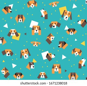Seamless stone on column pattern geometric funny bright beagle dogs and puppy's square triangle in blue boys illustration background vector