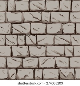 Seamless stone wall. Vector clip art illustration. All in a single layer.