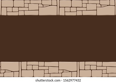 Seamless stones border, stone wall texture, isolated on brown background. Brick texture backgrounds, stones pattern. Vector color illustration.