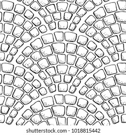 Seamless stonework pattern/ Black and white stone wall texture/ Cobblestone pavement background