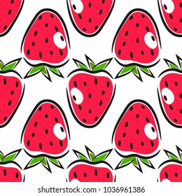 Seamless strawberry pattern. Hand drawn food illustration.