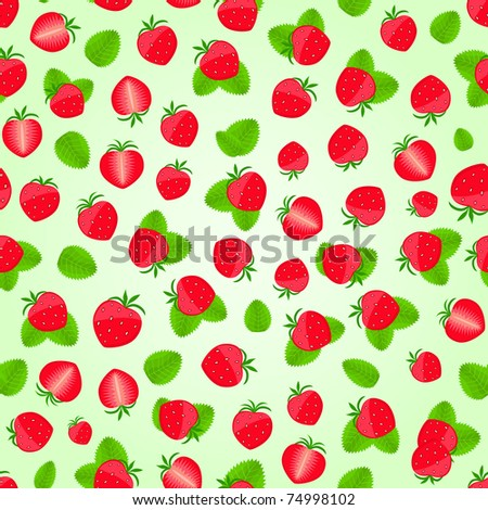 Seamless Strawberry Pattern Leaves On Light Stock Vector Royalty New Strawberry Pattern