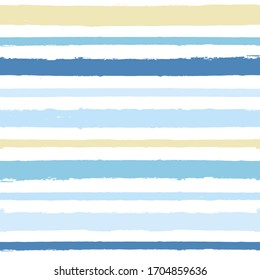 Seamless Stripe Pattern, Hand drawn water sea vector background. Blue beach brush stroke, watercolor paint lines, summer beach abstract illustration
