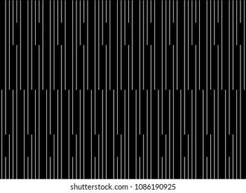Seamless stripe pattern vector. Design lines vertical random white on black background. Design print for fabric, wallpaper, textile, background. Set 3