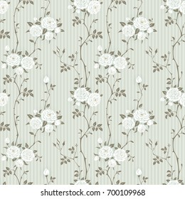 Seamless striped background with branches of roses. Floral pattern for wallpaper, fabric, digital paper, fills, etc. Shabby chic style.