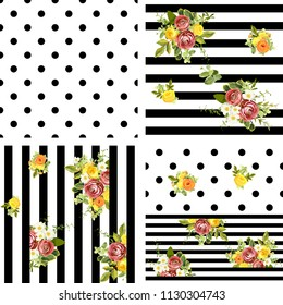 Seamless striped and dots style floral pattern with garden flower burgundy ranunculus and yellow, orange and white roses, green leaves. Trendy decorative backdrop. Vector illustration
