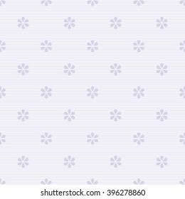 Seamless striped floral pattern in white and pastel purple colors. Thin horizontal stripes with drop-shaped petals flowers. Cute simple baby print. Vector illustration for fabric, paper and other
