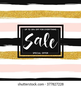 "Seamless striped gold rose white and black modern vector pattern banner with ""slae"" hand drawn lettering"