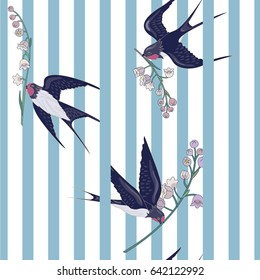Seamless striped pattern with birds and flowers. Swallows with lilies of the valley. Animal Pattern. Can be used for textile, manufacturing, book covers, wallpapers, print or gift wrap.
