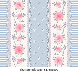 Seamless striped pattern with branches of roses and laces. Vintage floral background, border. May be use as digital paper, fills, print onto fabric.