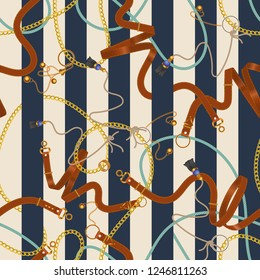 Seamless striped pattern with chains and belts. Vector patch for print, fabric, scarf.