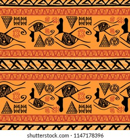 Seamless striped pattern egyptian theme with ethnic and tribal motifs. Vintage orange retro drawing for textile print vector illustration.