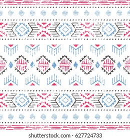 Seamless striped pattern. Ethnic and tribal motifs. Vintage print, grunge texture.Simple ornament. Handmade. White, gray, pink and blue colors. Vector illustration.