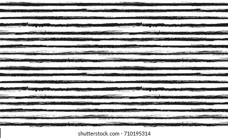 Seamless striped pattern. Horizontal line with torn paper effect. Ethnic background. Monochrome, white and black. EPS vector illustration. Texture for backdrop, app. Paint brush stroke stripes.