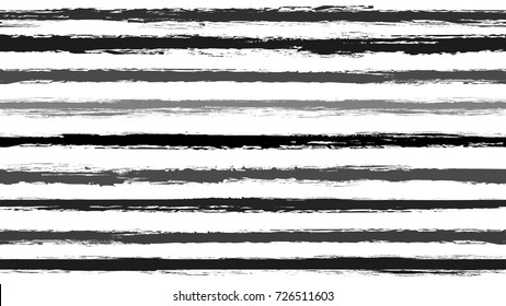 Seamless striped pattern. Horizontal line with torn paper effect. Ethnic background. Monochrome gray gradient color. EPS vector illustration. Texture for backdrop. Paint brush stroke stripes for kids.