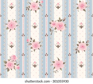 Seamless striped pattern with pink roses, leaves and laces. Vector floral background.