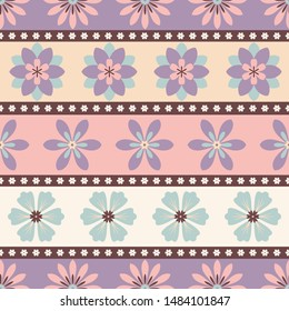 Seamless striped pattern of purple, blue and pink flowers.