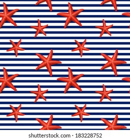 Seamless striped pattern with starfish. Sea theme. Vector illustration.