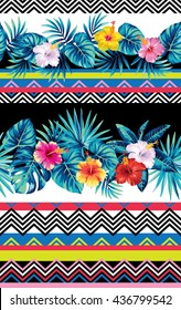 Seamless striped pattern with tribal geometrical elements, tropical leaves and flowers. Vector illustration.