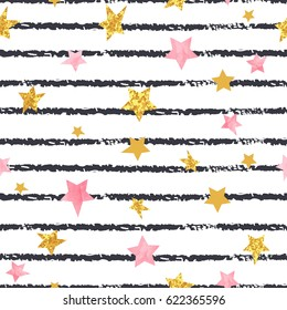 Seamless striped stars pattern. Vector background.