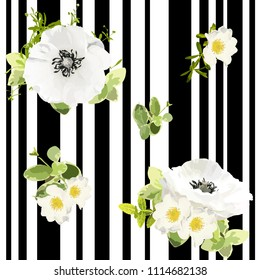 Seamless striped style floral pattern with garden flower white poppy and rose, green leaves. Trendy decorative backdrop. Vector illustration