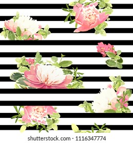 Seamless striped style floral pattern with garden flower pink peonies, green leaves. Trendy decorative backdrop. Vector illustration