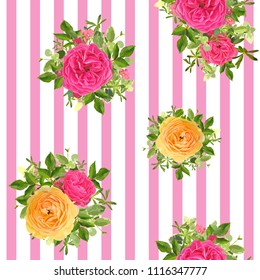 Seamless striped style floral pattern with garden flower orange and pink roses, green leaves. Trendy decorative backdrop. Vector illustration