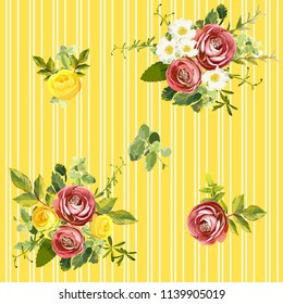 Seamless striped style floral pattern with garden flower burgundy ranunculus and yellow, orange and white roses, green leaves. Trendy decorative backdrop. Vector illustration