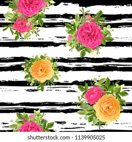 Seamless striped style floral pattern with garden flower yellow and pink roses, green leaves. Trendy decorative backdrop. Vector illustration