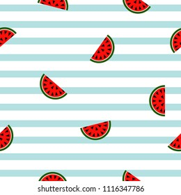 Seamless striped watermelon geometric pattern, vector illustration. Design backgrounds for invitation, brochure and promotion template