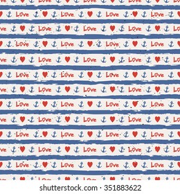 seamless stripes pattern with hearts and anchors