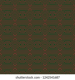 Seamless stripes woven pattern vector. Design lines red on green background. Design print for textile, fashion, wallpaper, background, floor. Set 6