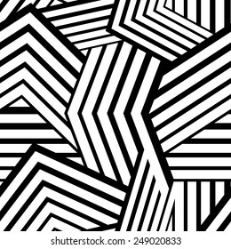 Seamless stripped geometric background. Black and White Vector illustration. Mix of lines