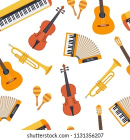 Seamless stylish colorful pattern of musical instruments on white background. Violin, accordion, maracas, guitar, piano, pipe. Flat style. Vector illustration